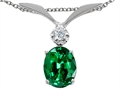 Tommaso Design™ Oval Simulated Emerald And Pendant
