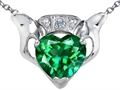 Celtic Love by Kelly™ Claddagh Love Pendant With 8mm Heart Simulated Emerald and Genuine Diamond