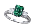 Original Star K™ Engagement Ring with 8x6mm Emerald Cut Simulated Emerald