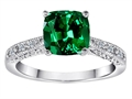 Original Star K™ Solitaire Ring with Cushion Cut Simulated Emerald