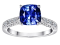 Original Star K™ Solitaire Engagement Ring with Cushion Cut Created Sapphire