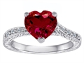 Original Star K™ Solitaire Engagement Ring with Heart Shape Created Ruby