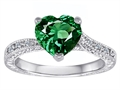 Original Star K™ Solitaire Ring with Heart Shape Simulated Emerald