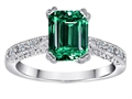 Original Star K™ Solitaire Engagement Ring with Emerald Cut Simulated Emerald
