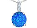 Original Star K™ Large 12mm Round Simulated Blue Opal Pendant