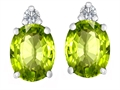 Original Star K™ 8x6mm Oval Simulated Peridot Earrings Studs