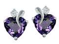 Original Star K™ 8mm Heart Shape Simulated Alexandrite Heart Earrings