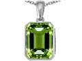 Original Star K™ Emerald Cut 10x8mm Simulated Peridot Pendant