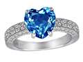 Original Star K™ 8mm Heart Shape Simulated Blue Topaz Ring