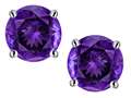 Original Star K™ 7mm Round Genuine Amethyst Screw Back Stud Earrings