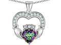 Original Star K™ Hands Holding 8mm Crown Heart Claddagh Pendant with Rainbow Mystic Quartz