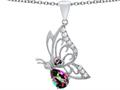 Original Star K™ Butterfly Pendant With 9x6mm Pear Shape Rainbow Mystic Quartz