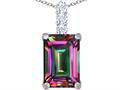 Original Star K™ Large 14x10mm Emerald Cut Rainbow Mystic Quartz Pendant
