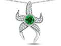 "Original Star K™ Round 6mm Simulated Emerald ""Star Fish"" Pendant"