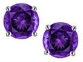 Star K™ 7mm Round Genuine Amethyst Screw Back Stud Earrings