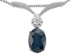 Tommaso Design Oval 7x5mm Genuine Sapphire and Diamond Pendant Style number: 301965