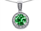 Tommaso Design Round Simulated Emerald and Diamonds Pendant Style number: 302608