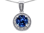 Tommaso Design  Round Created Sapphire and Diamonds Pendant Style number: 302610