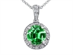 Tommaso Design Diamonds and Round Simulated Emerald Pendant Style number: 302735