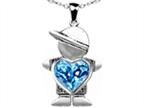 Original Star K Boy Holding 8mm Mother Heart December Birthstone Pendant with Genuine Blue Topaz Style number: 303383