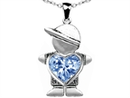 Original Star K Boy Holding 8mm Mother Heart March Birthstone Pendant with Simulated Aquamarine Style number: 303392