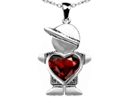 Original Star K Boy Holding 8mm Mother Heart January Birthstone Pendant with Simulated Garnet Style number: 303393