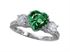 Original Star K Diamonds And 8mm Heart Shape Simulated Emerald Engagement Ring Style number: 304052