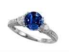 Original Star K Diamonds And 7mm Round Created Sapphire Engagement Ring Style number: 304065