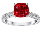 Original Star K Cushion Cut Created Ruby and Diamonds Solitaire Engagement Ring Style number: 304818