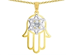 Tommaso Design Large 1.5 inch Hamsa Hand Jewish Star of David Kabbalah Protection Pendant with 6 Genuine Diamonds Style number: 305095