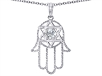 Tommaso Design Large 1.5 inch Hamsa Hand Jewish Star of David Kabbalah Protection Pendant with 6 Genuine Diamonds Style number: 305096