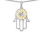 Tommaso Design Large 1.5 inch Hamsa Hand Jewish Star of David Kabbalah Protection Pendant with 6 Genuine Diamonds Style number: 305097