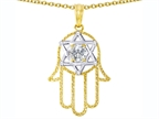Tommaso Design Large 1.5 inch Hamsa Hand Jewish Star of David Kabbalah Protection Pendant with 6 Genuine Diamonds Style number: 305099