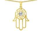 Tommaso Design Large 1.5 inch Hamsa Hand Jewish Star of David Protection Pendant Style number: 305102