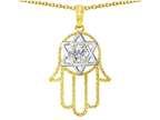 Tommaso Design Large 1.5 inch Hamsa Hand Jewish Star of David Protection Pendant Style number: 305103