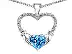 Celtic Love by Kelly Hands Holding your Heart Genuine Blue Topaz and Diamond Claddagh Pendant Style number: 305138