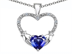 Celtic Love by Kelly Hands Holding your Heart Created Sapphire and Diamond Claddagh Pendant Style number: 305143