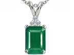 Tommaso Design Emerald Cut 7x5mm Genuine Emerald and Diamond Pendant Style number: 305309
