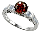 Original Star K Classic 3 Stone Engagement Ring With Round 7mm Genuine Garnet Style number: 305405