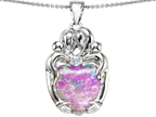 Original Star K Large Loving Mother Twins Family Pendant With 12mm Heart Shape Simulated Pink Opal Style number: 305431