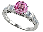 Original Star K Classic 3 Stone Engagement Ring With Round 7mm Created Pink Sapphire Style number: 305445