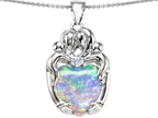 Original Star K Large Loving Mother Twins Family Pendant With 12mm Heart Shape Simulated Opal Style number: 305585