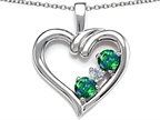 Original Star K Open Heart 3 Stone Pendant with Simulated Emerald Style number: 305698