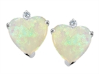 Tommaso Design 7mm Heart shape Genuine Opal and Diamonds Earrings Studs Style number: 305903