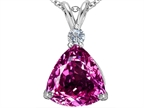 Original Star K Large 12mm Trillion Cut Created Pink Sapphire Pendant Style number: 306002