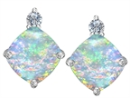 Original Star K 7mm Cushion Cut Simulated Opal Earrings Studs Style number: 306085