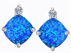 Original Star K 7mm Cushion Cut Simulated Blue Opal Earrings Studs Style number: 306096