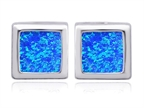 Original Star K 8mm Square Cut Simulated Blue Opal Earrings Studs Style number: 306176