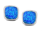 Original Star K 8mm Cushion Cut Simulated Blue Opal Earrings Studs Style number: 306187