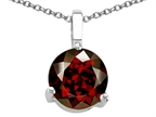 Tommaso Design Round Genuine Garnet Solitaire Pendant Style number: 306269